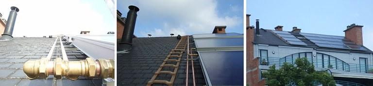 Mise en oeuvre de 16 panneaux solaires thermiques
